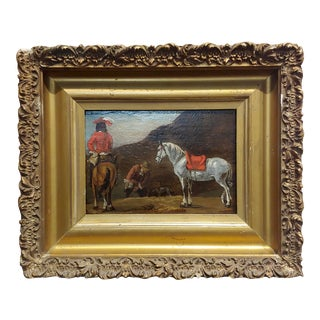 18th Century Horse & Riders Oil Painting For Sale