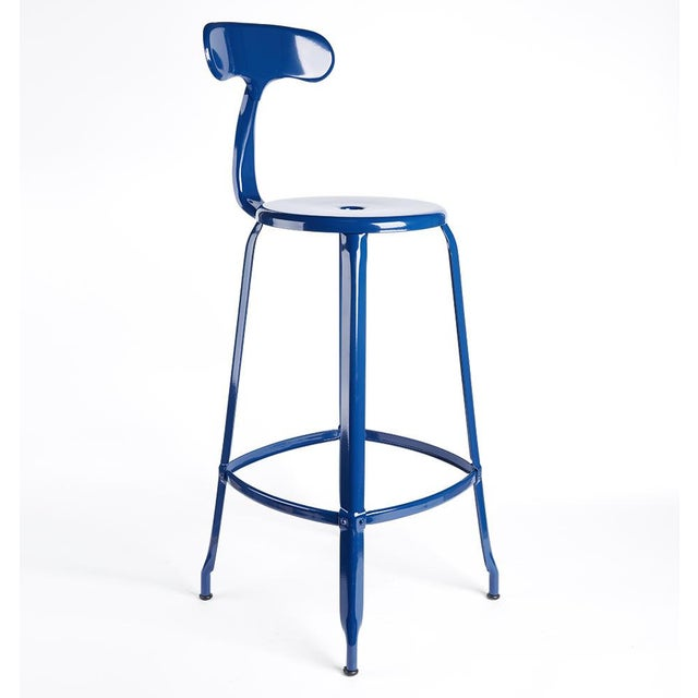 Cobalt Blue Leather Seat Bar Stool For Sale - Image 4 of 4