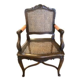 Vintage French Wooden Armchair With Cane Seat For Sale