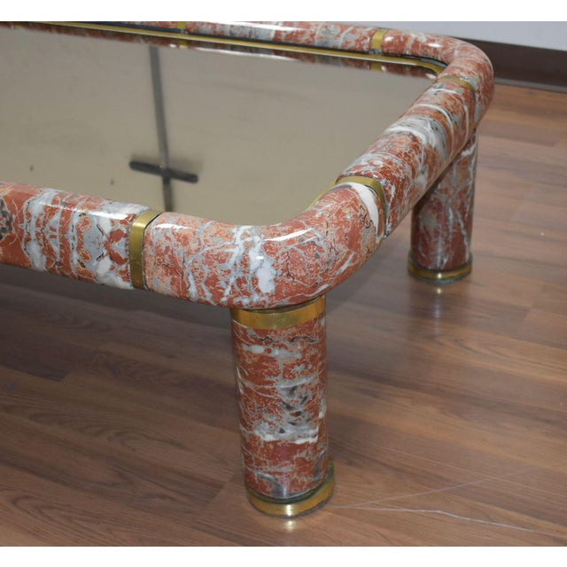 1970s Tommaso Barbi Ceramic Coffee Table With Mirror Top For Sale - Image 12 of 13