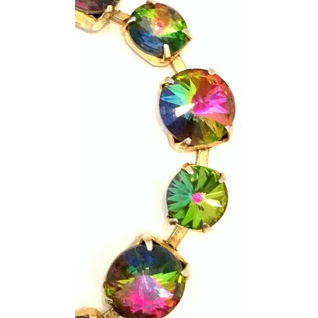 Crystal 20th Century Gold Plate & Austrian Crystal Rivoli Watermelon Link Bracelet For Sale - Image 7 of 11