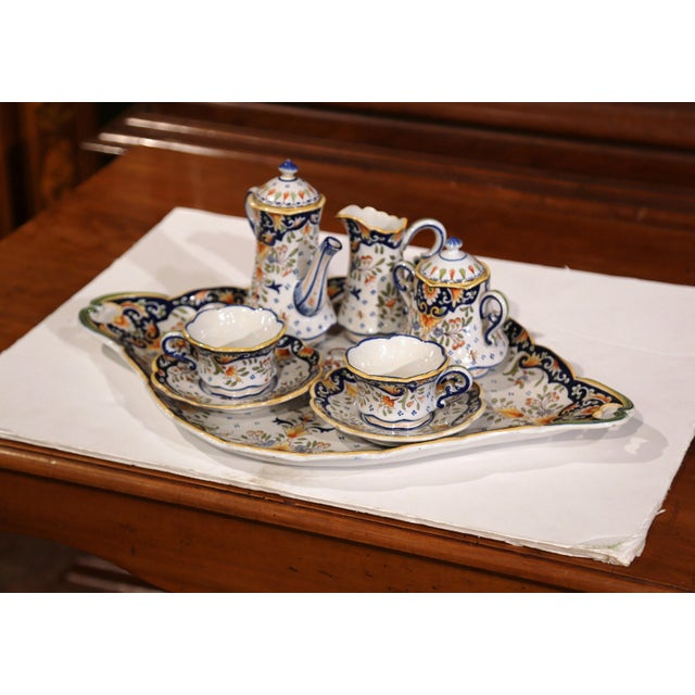 French Early 20th Century French Hand-Painted Faience Coffee Set From Blois - 10 Pc. Set For Sale - Image 3 of 9