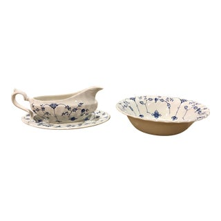 Staffordshire China Chinoiserie Serving Bowl and Gravy Boat With Underplate in Myott Finlandia Print For Sale