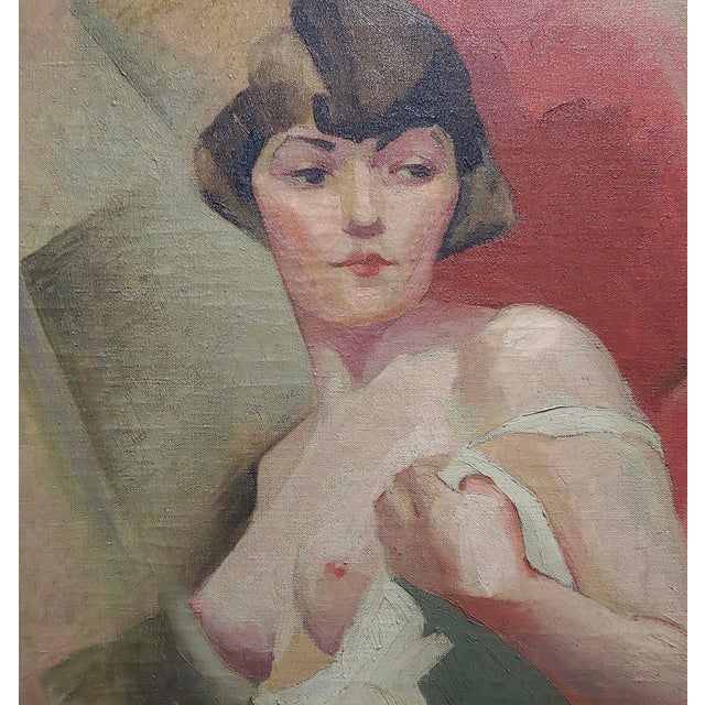 1920s Reva Jackman -1927 Art Deco & Cubism Nude Female Portrait-Beautiful Oil Painting For Sale - Image 5 of 10
