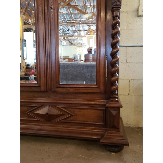 Brown Louis XIII Period Walnut Armoire For Sale - Image 8 of 13