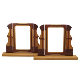 Handmade Wooden Inlay Swinging Tabletop Picture Frames - a Pair For Sale