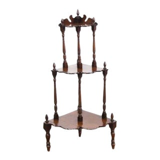 Late 19th Century Three Tiered Corner Etagere For Sale