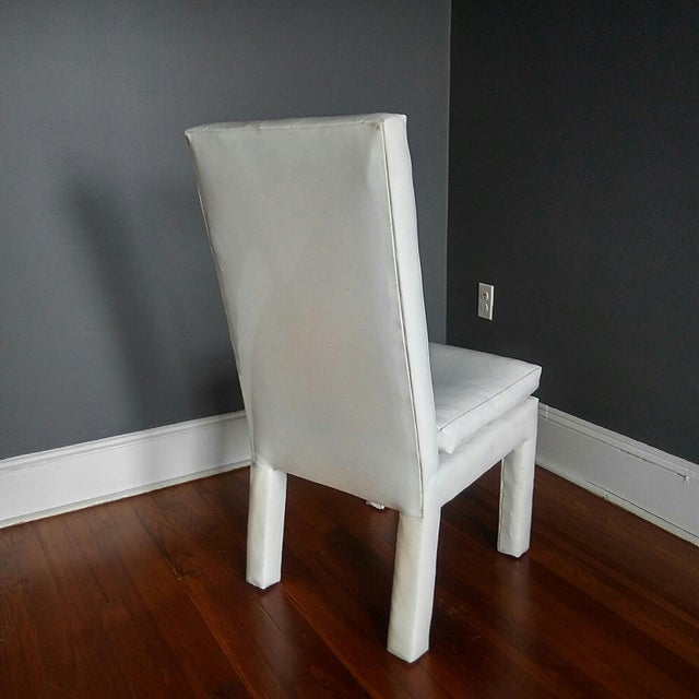 White 1970s Vintage Milo Baughman Parsons Dining Chairs- Set of 4 For Sale - Image 8 of 11