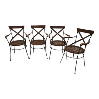 French Bistro Chairs Iron & Wood Frames With Cane Seats - Set of 4 For Sale