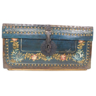 Antique Painted Leather Chest