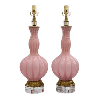 Pink Swirl Murano Lamps - a Pair For Sale