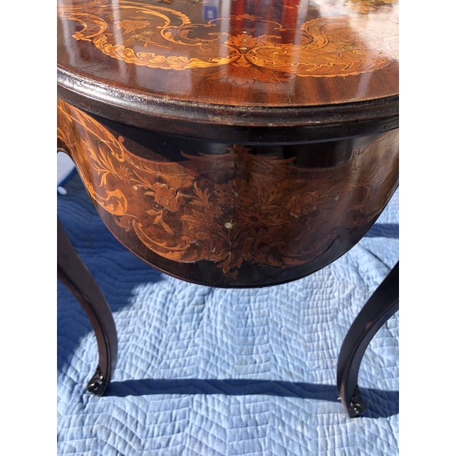 Louis XV Style Mahogany and Satinwood Marquetry Inlaid Center Table For Sale - Image 10 of 13