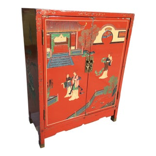 Early 20th Century Chinoiserie Hand Painted Cabinet For Sale