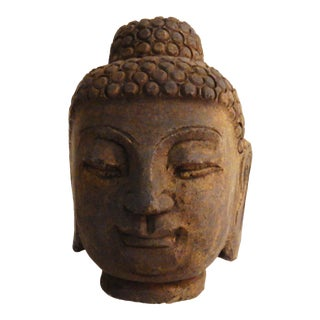 Carved Stone Gautama Buddha Head For Sale
