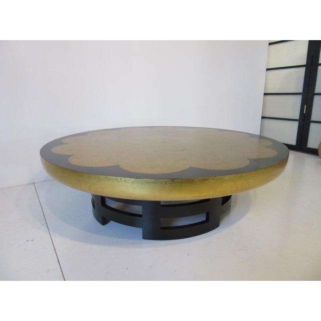 Ebony Kittinger Asian Regency Styled Lotus Coffee Table For Sale - Image 7 of 9