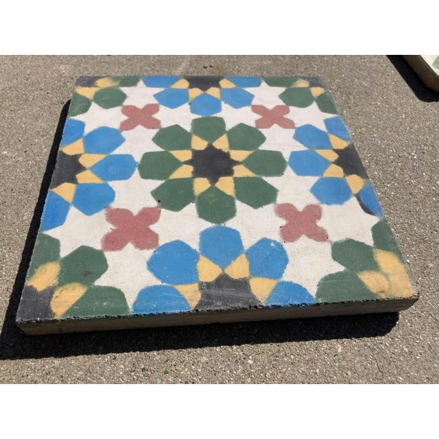 1990s Moroccan Encaustic Cement Tiles with Traditional Fez Moorish Design For Sale - Image 5 of 7