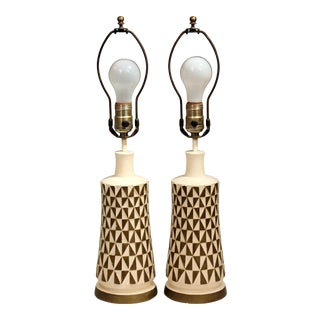 1960s Vintage Faip Mid-Century Modern Geometric Plaster Chalkware Table Lamps - a Pair For Sale