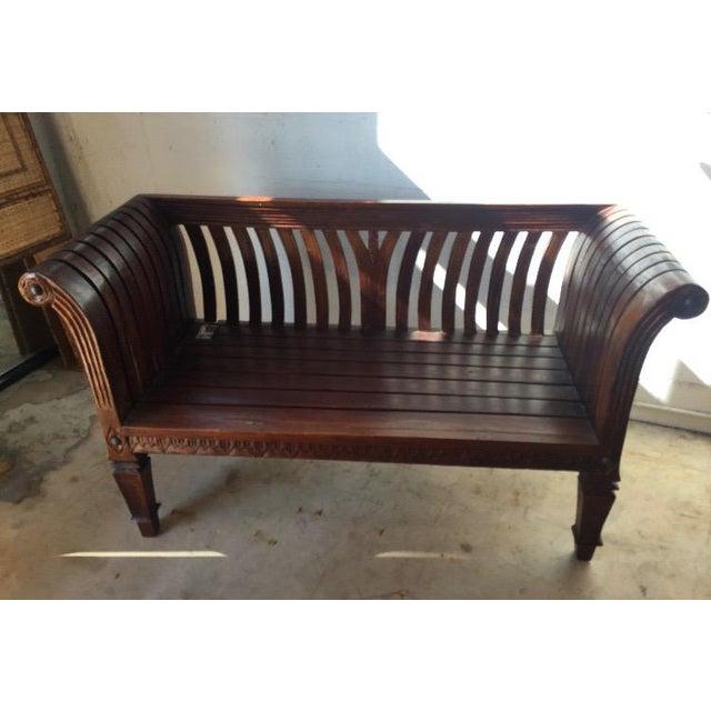 Slatted Carved Wooden Bench For Sale - Image 5 of 5