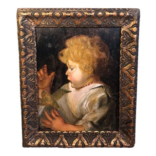 Early Victorian Portrait of a Child With Bird For Sale