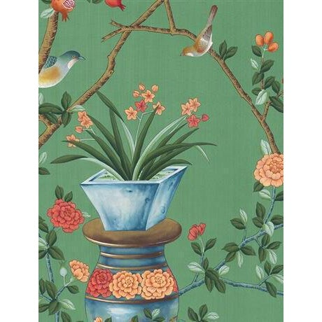 Not Yet Made - Made To Order Casa Cosima Green Fauna Wallpaper Mural - Sample For Sale - Image 5 of 5