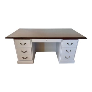 Traditional Lava Rock Executive Desk With Mahogany Top For Sale