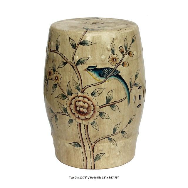 Handmade Beige Porcelain Bird Flower Round Stool Ottoman - Image 6 of 7
