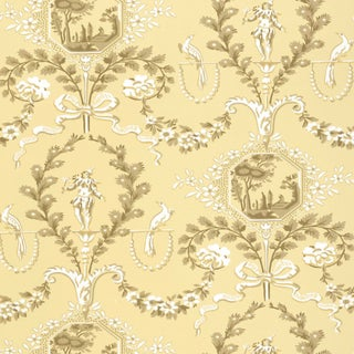 Sample - Schumacher Jester Arabesque Wallpaper in Sunlight For Sale
