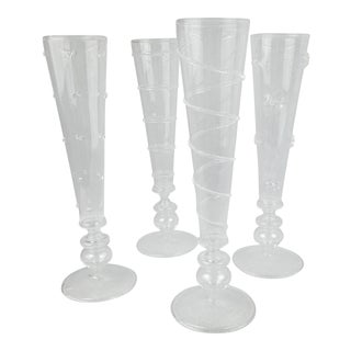Venetian Style Champagne Flutes - Set of 4 For Sale