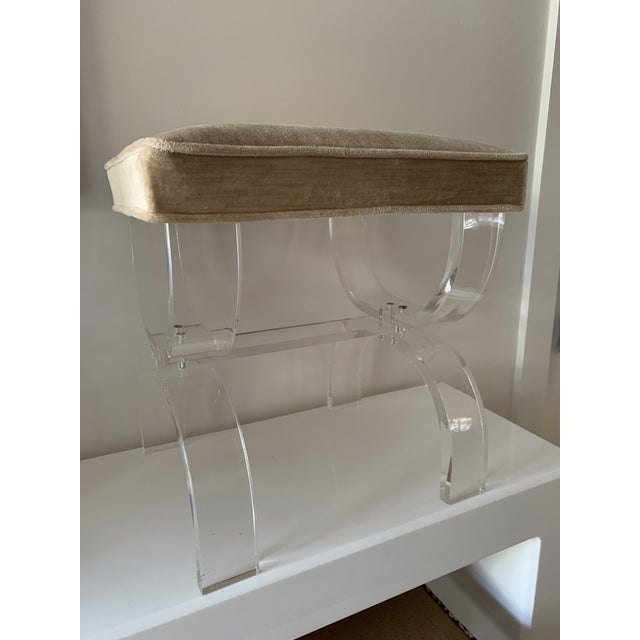 1970s Vintage Lucite X-Base Stool For Sale - Image 11 of 13