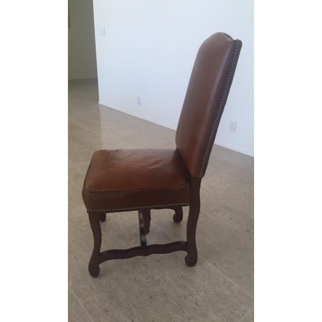 Leather Dining Chairs With Nailheads - Set of 6 - Image 8 of 9