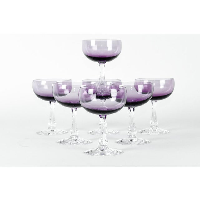Vintage Italian Glass Vintage Amethyst Crystal Coupes - Set of 7 For Sale - Image 4 of 11