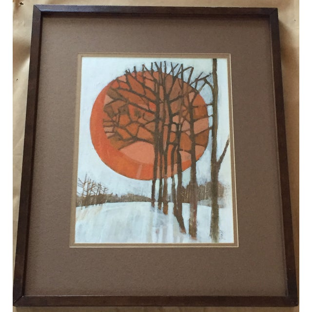 Very Graphic 60's work signed by Fera dated '67. Expertly layered paint depicts warm sun refracting beautiful orange tones...