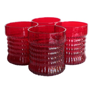Red Textured Lowball Glasses - Set of 4 For Sale