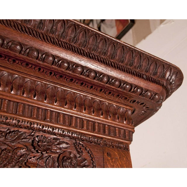 Wood Early 19th Century French Carved Floral Motif Marriage Armoire For Sale - Image 7 of 7