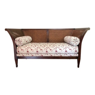 Vintage Custom Mahogany Settee With Cane Back For Sale