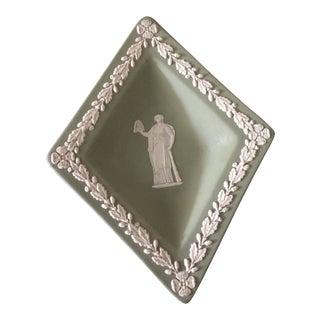 Mid-Century Wedgwood Jasperware Diamond Sage, Cream on Celadon Dish For Sale