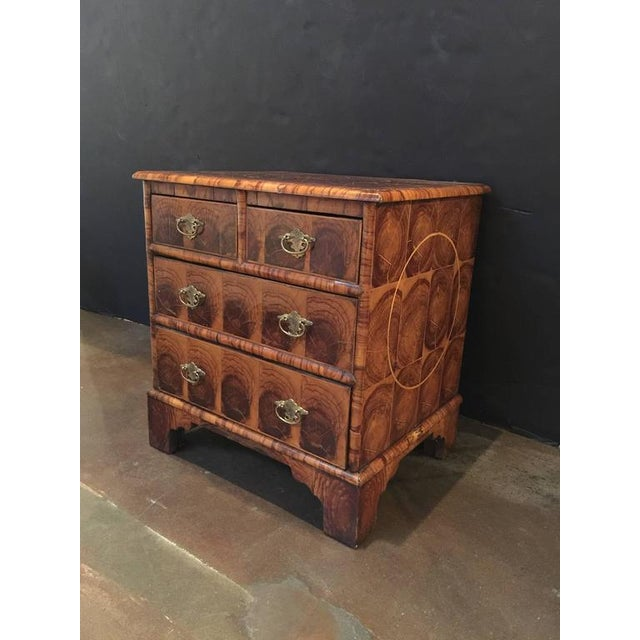A rare size English Georgian oyster veneer chest with very attractive beautiful patina. It has two small drawers over two...