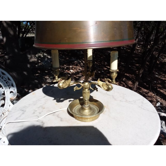 Antique French Bouillotte Lamp With Swan Heads For Sale In San Antonio - Image 6 of 9