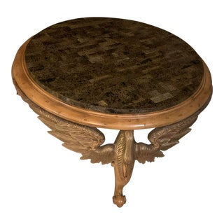 Traditional Marble Top Round Coffee Table For Sale