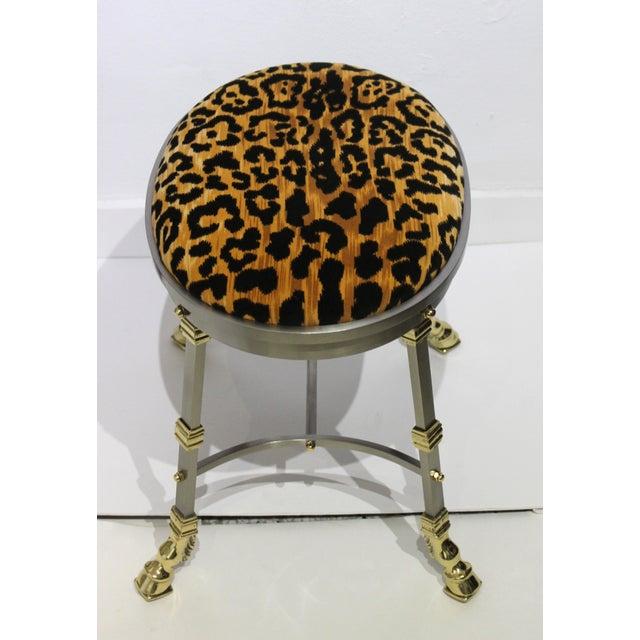 Maison Jansen Vintage Maison Jansen Style Oval Stool Polished Steel & Brass Leopard Upholstery For Sale - Image 4 of 13