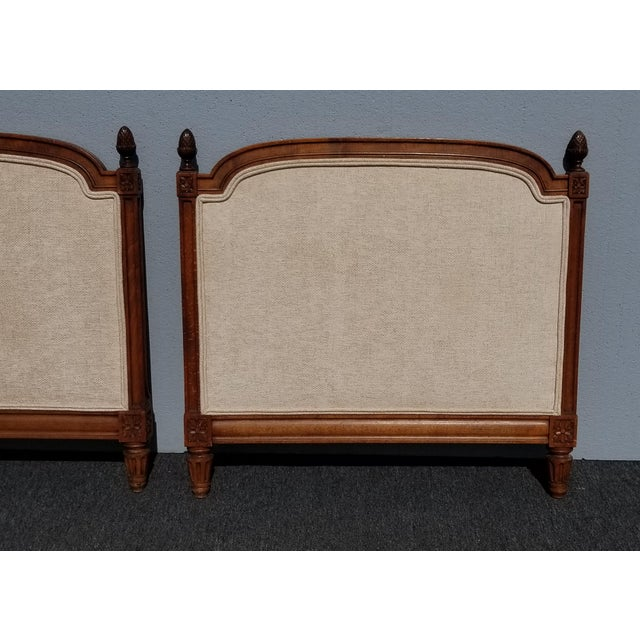 Pair of Vintage French Country Tan Twin Headboards Low Profile For Sale In Los Angeles - Image 6 of 13