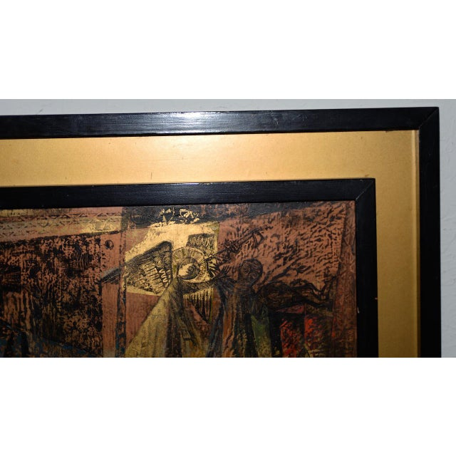 """Cubism 1956 """"Memory of the Bronze Doors of San Zeno, Italy"""" Oil Painting by Gerda With For Sale - Image 3 of 13"""
