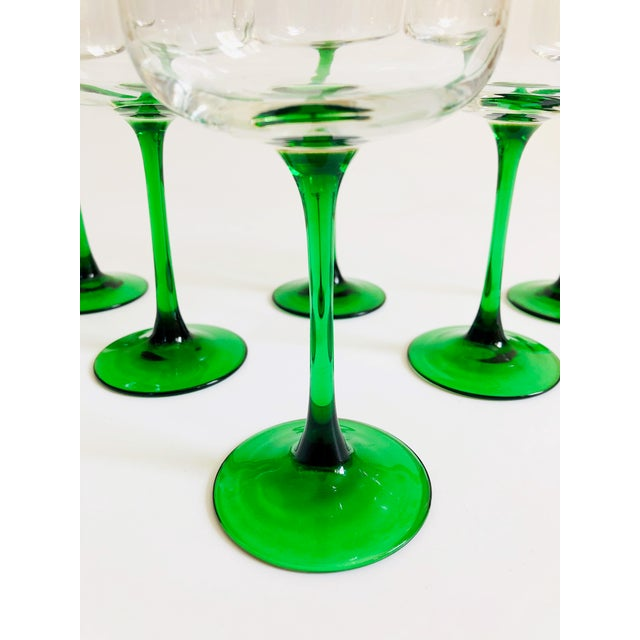 Mid 20th Century Vintage Green Stemmed Wine Glasses - Set of 6 For Sale - Image 5 of 6