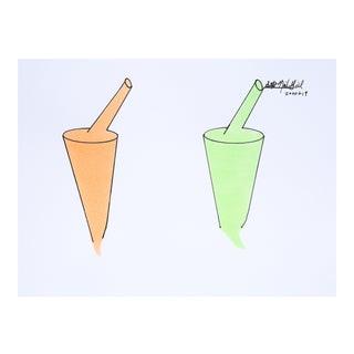 "Orange & Lime Pop Art Drawing, ""Sips..."" For Sale"