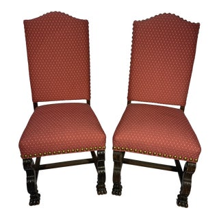 English Raspberry Chairs With Claw Feet - a Pair For Sale