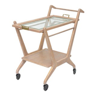 1950s Cerused Oak Bar Cart