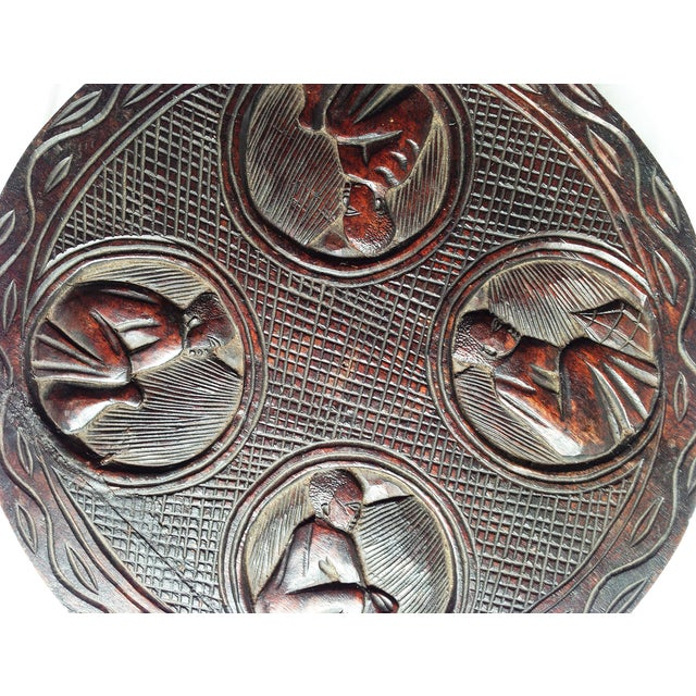 African Carved Wood Medallion - Image 3 of 4