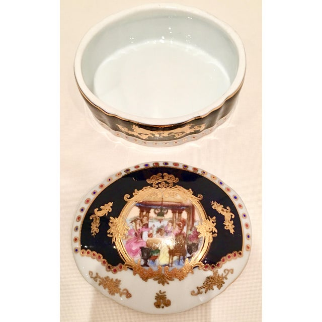 20th C. French Sevres Limoges Style Cobalt & Gold Tray & Box - Image 6 of 11