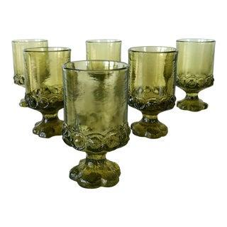 1970s Tiffin Fransciscan Glass Madeiro Citron Green Wine Glasses - Set of 6 For Sale
