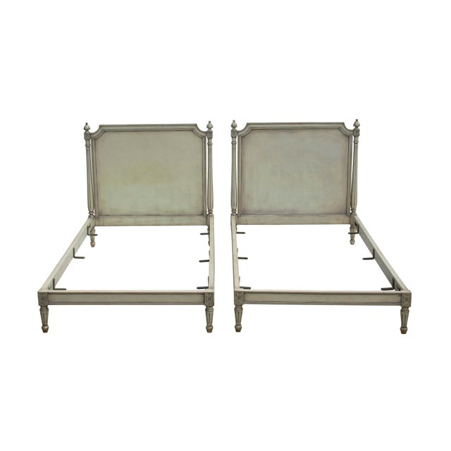 Pair of Carved Louis XVI Twin Bed Frames in a Silvery Grey-Blue For Sale - Image 9 of 11